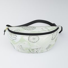 Green Watercolor Fruit Fanny Pack