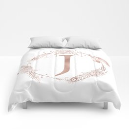 Letter J Rose Gold Pink Initial Monogram Comforters