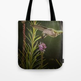 Hummingbird and deck flowers Tote Bag