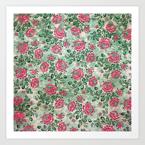 Retro French Floral Pattern Art Print