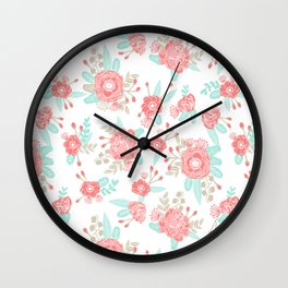 Girly Trend florals cute minimal modern painted flower bouquet colors of the year Wall Clock