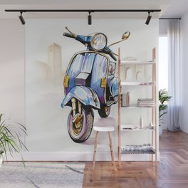 Azzurro Vespa (Motocicletalia) Wall Mural