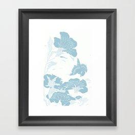 japanese Flowers White and Blue Framed Art Print