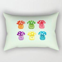 cute mushroom emoji watercolor painting  Rectangular Pillow