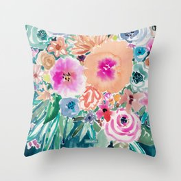 SMELLS LIKE FEMME RECLAMATION Floral Throw Pillow
