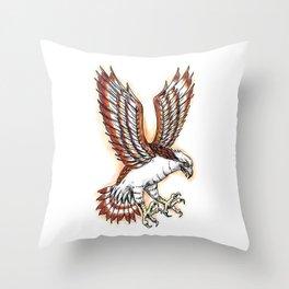 Osprey Sea Hawk Swooping Tattoo Throw Pillow