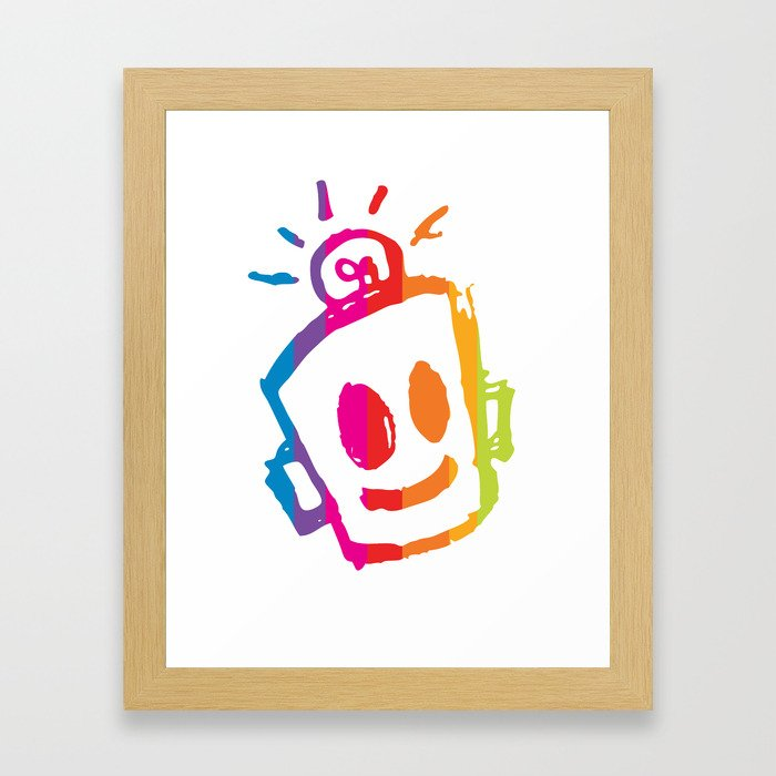ROBOT stripes Framed Art Print
