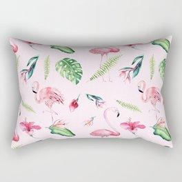 Blush pink green watercolor monster leaves flamingos pattern Rectangular Pillow