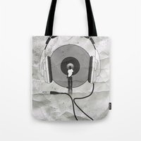afro Tote Bags featuring vinyl afro by Vin Zzep