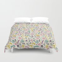 candy Duvet Covers featuring Retro Blooms (Candy) by Anna Deegan