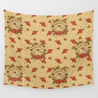terrier Wall Tapestries featuring Tattoo Terrier by Kelsey Cretcher Illustration