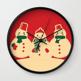 Kitschy Holiday Snowmen on Red Wall Clock