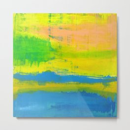 'A Sunny Day' Yellow Coral Blue Abstract Art Metal Print