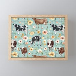 Hand-Drawn Cows and Flowers on Blue with Pin Stripes Framed Mini Art Print