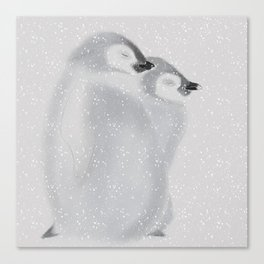 Penguins in snowstorm Canvas Print