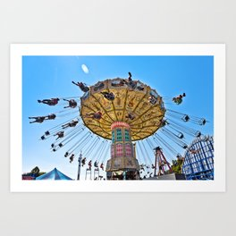 swings ride at the county fair summer fun kids blue sky spin spinning dizzy Art Print