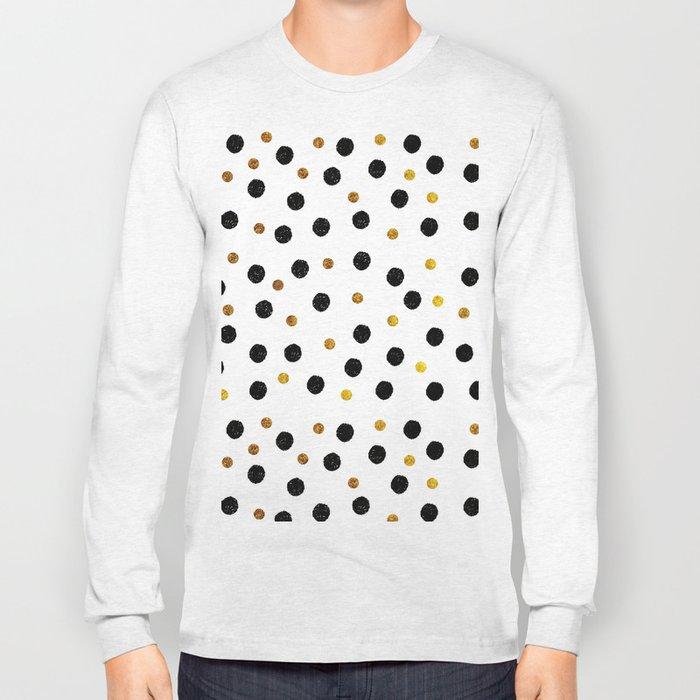 Black & Gold Glitter Confetti on white background- Elegant pattern Long Sleeve T-shirt