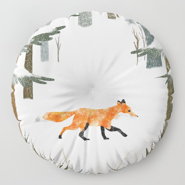 Fox In A Late Winter Snowfall Floor Pillow
