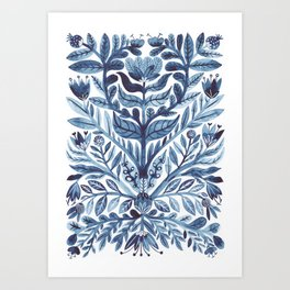 retro indigo watercolour florals Art Print