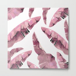 Banana Leaves 2 Pink Metal Print