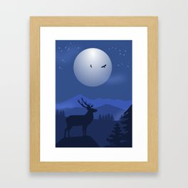 Mystical Night in the Mountains Framed Art Print