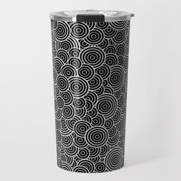 Chaotic Circles - Geometric Pattern (Black) Travel Mug