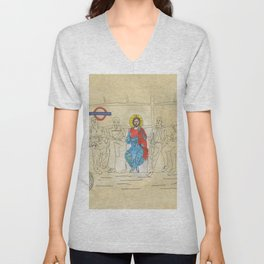 Jesus on the Tube, He is among us Unisex V-Neck