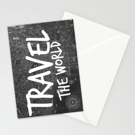 Travel The World Map Design Stationery Cards