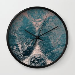 Antique Map Rose Gold Navy Blue Wall Clock