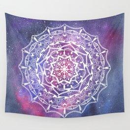 White mandala on galaxy background Wall Tapestry