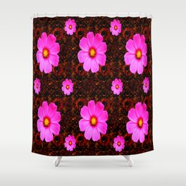 FUCHSIA PINK FLOWERS &  DARK ART Shower Curtain