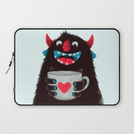 Demon with a cup of coffee (contrast) Laptop Sleeve