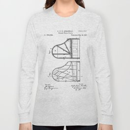 Steinway Grand Piano Patent - Piano Player Art - Black And White Long Sleeve T-shirt