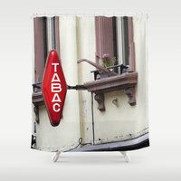 cigarette Shower Curtains featuring Sign Tabac France Bar Cigarette by Premium