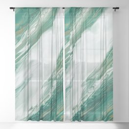 Emerald Jade Green Gold Accented Painted Marble Sheer Curtain