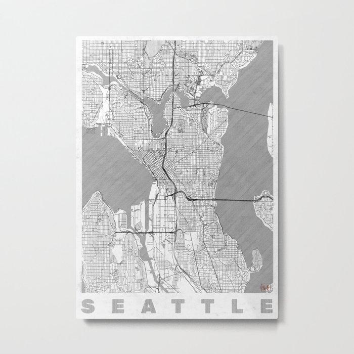 Seattle Map Line Metal Print