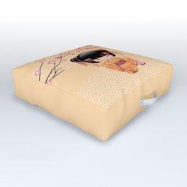 Japanese Ume Kokeshi Doll Outdoor Floor Cushion