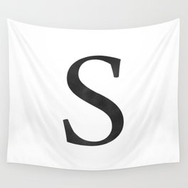 Letter S Initial Monogram Black and White Wall Tapestry