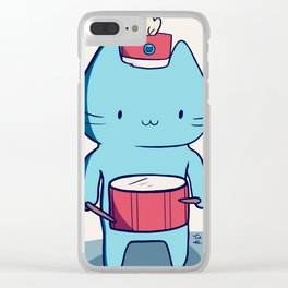 Drummer kitten Clear iPhone Case