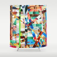 bianca green Shower Curtains featuring Bianca (stripes 22) by Wayne Edson Bryan
