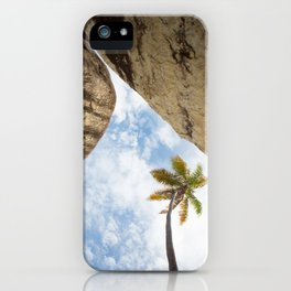 Virgin Gorda Batholithic Boulders and a Sunny Palm Tree iPhone Case