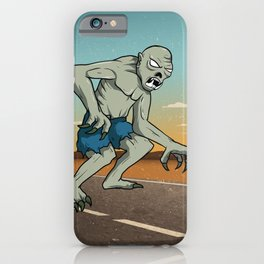 Vintage Ghoul Crossing The Road, Hand Drawn Halloween Poster iPhone Case