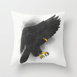 Black eagle bird watercolour painting illustration Throw Pillow