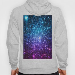 Glitter Galaxy Stars : Turquoise Blue Purple Hot Pink Ombre Hoodie