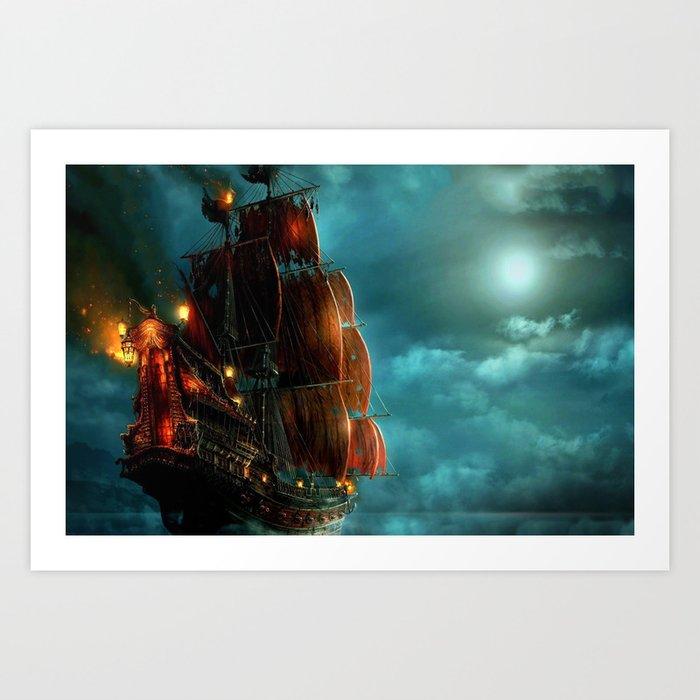 Pirates on sea Kunstdrucke