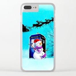 Tardis Christmas Clear iPhone Case
