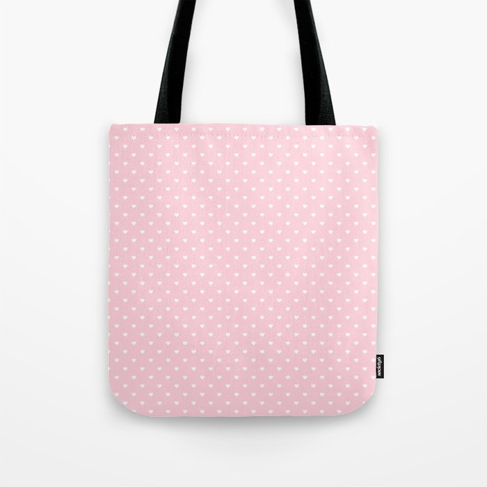 f46c35cd3 White Polka Dot Hearts on Light Soft Pastel Pink Tote Bag by honorandobey |  Society6