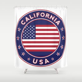 California, USA, car sticker, fridge sticker, travel sticker Shower Curtain