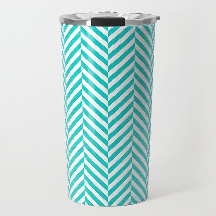 Teal white abstract geometrical chevron Travel Mug