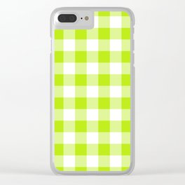 Lime Buffalo Check Clear iPhone Case